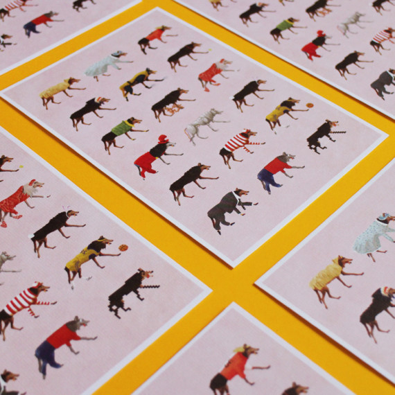 illustration 'Versatile wolves' made by Christel Wolf, printed on cards for exhibition