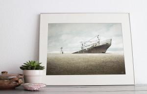 Framed print illustration 'No Land' made by Christel Wolf