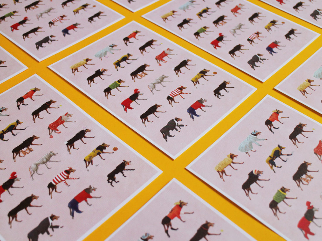 illustration 'Versatile wolves' made by Christel Wolf, printed on cards Exhibition